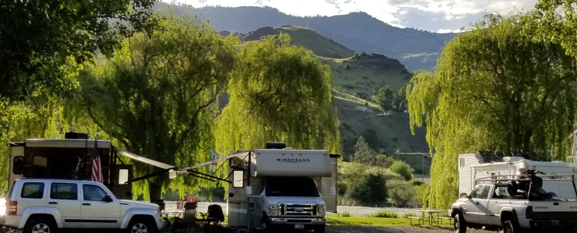 Camping along the Salmon River at Swiftwater RV in Idaho